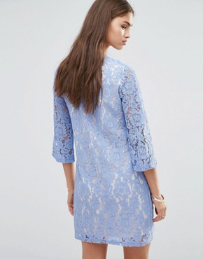 photo 3/4 Sleeve Lace Shift Dress by Darling, color Lilac - Image 2