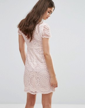 photo Short Sleeve Lace Shift Dress by Darling, color Nude - Image 2