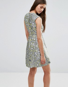 photo Metallic Skater Dress by Darling, color Yellow/White - Image 2
