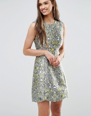 photo Metallic Skater Dress by Darling, color Yellow/White - Image 1