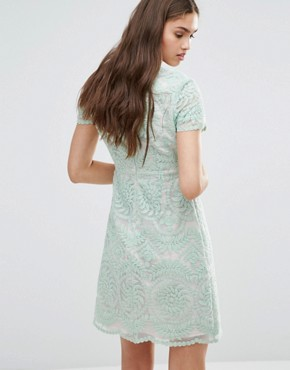 photo Short Sleeve Lace Shift Dress by Darling, color Mint - Image 2