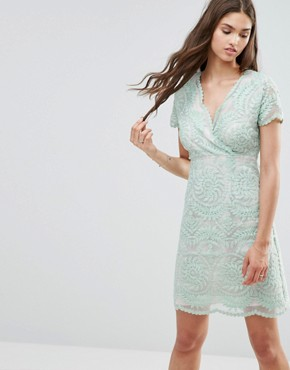 photo Short Sleeve Lace Shift Dress by Darling, color Mint - Image 1