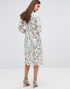 photo Floral 3/4 Sleeve Shirt Dress by Darling, color Cream Multi - Image 2