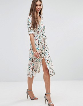 photo Floral 3/4 Sleeve Shirt Dress by Darling, color Cream Multi - Image 1