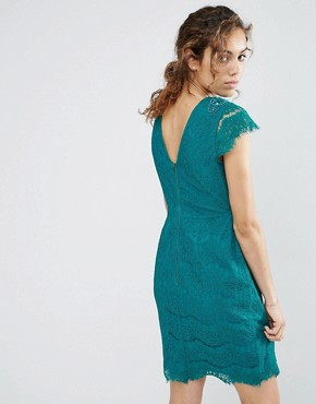 photo Capped Sleeve Lace Dress by Darling, color Emerald - Image 2