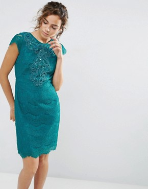 photo Capped Sleeve Lace Dress by Darling, color Emerald - Image 1