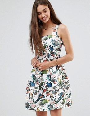 photo Floral Skater Dress by Darling, color White Multi - Image 1