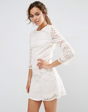 photo 3/4 Sleeve Lace Shift Dress by Darling, color Nude - Image 1