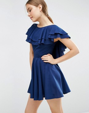 photo Soft Ruffle Low Back Skater Mini Dress by ASOS, color Blue - Image 2