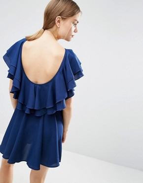photo Soft Ruffle Low Back Skater Mini Dress by ASOS, color Blue - Image 1