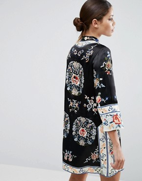 photo Embroidered Tunic Shift Dress by ASOS, color Black - Image 2