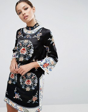 photo Embroidered Tunic Shift Dress by ASOS, color Black - Image 1