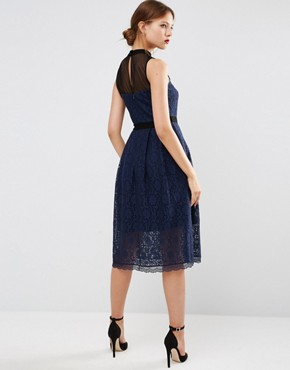 photo Midi Lace Skater Dress with Mesh Neck by ASOS, color Navy/Black - Image 2