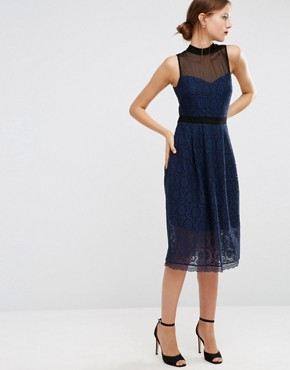 photo Midi Lace Skater Dress with Mesh Neck by ASOS, color Navy/Black - Image 1