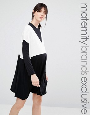 photo Oversized Colour Block Dress by Bluebelle Maternity, color Black - Image 1