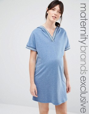 photo Lounge Varsity Trim Sweat Dress with Hood by Bluebelle Maternity, color Blue - Image 1