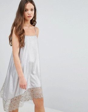 photo Cami Dress with Lace Hem by Vero Moda, color Silver - Image 1