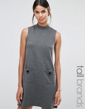 photo High Neck Swing Dress by Vero Moda Tall, color Dark Grey - Image 1