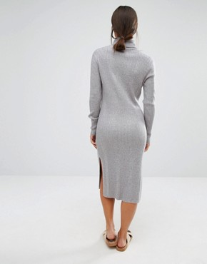 photo Roll Neck Midi Dress by Vero Moda Petite, color Grey Marl - Image 2