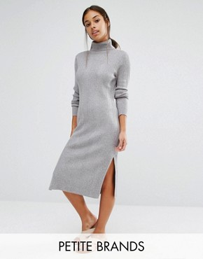 photo Roll Neck Midi Dress by Vero Moda Petite, color Grey Marl - Image 1