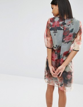 photo Organza Tunic Dress by Little Mistress, color Floral - Image 2
