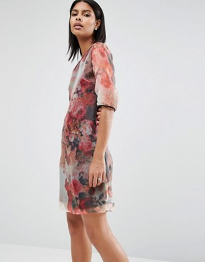 photo Organza Tunic Dress by Little Mistress, color Floral - Image 1