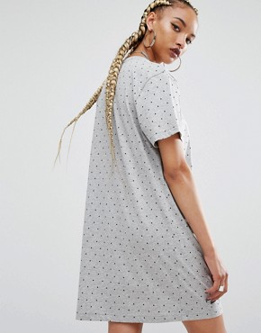 photo Printed T-Shirt Dress by Adidas Originals, color Grey - Image 2