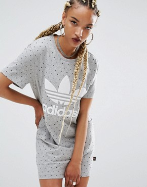 photo Printed T-Shirt Dress by Adidas Originals, color Grey - Image 1