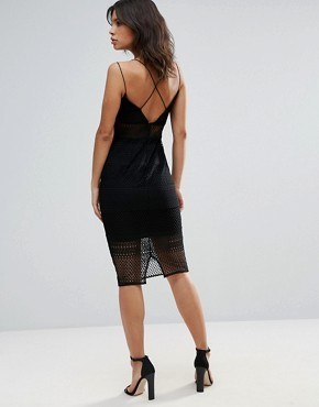 photo Sheer Inserts Lace Midi Dress by Talulah, color Black - Image 2