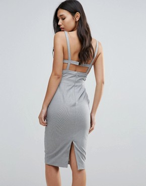 photo Walk On By Strappy Back Bodycon Dress by Talulah, color Grey White - Image 2