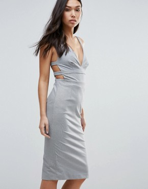 photo Walk On By Strappy Back Bodycon Dress by Talulah, color Grey White - Image 1