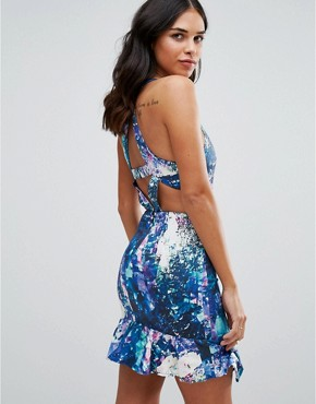 photo Lilac Bloom Printed Mini Dress by Talulah, color Blue - Image 2