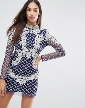 photo High Neck Long Sleeve Heavily Embellished Dress by A Star Is Born, color Navy - Image 1