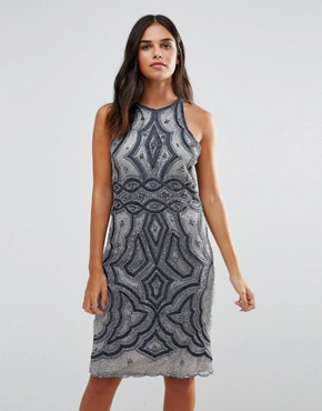 photo Heavily Embellished Midi Dress by A Star Is Born, color Pewter - Image 1