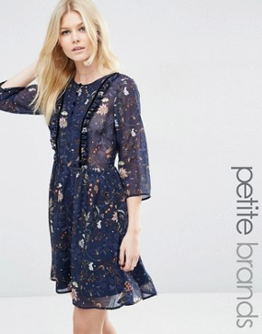photo Floral Ruffle Front Dress by Vero Moda Petite, color Dark Blue Floral - Image 1