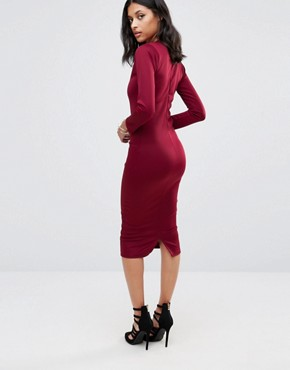 photo Jennie Midi Pencil Dress by Honor Gold, color Red Wine - Image 2