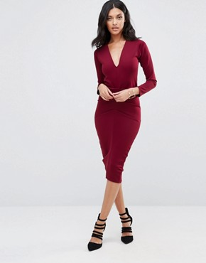 photo Jennie Midi Pencil Dress by Honor Gold, color Red Wine - Image 1