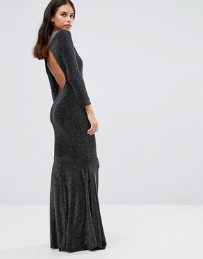 photo Sophia Backless Maxi Dress by Honor Gold, color Black/Silver - Image 1