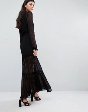 photo Tiered Prairie Maxi Dress by Vero Moda Tall, color Black - Image 2