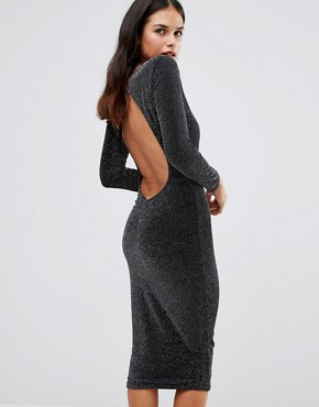 photo Sophia Backless Midi Dress by Honor Gold, color Black/Silver - Image 2