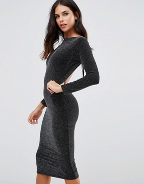 photo Sophia Backless Midi Dress by Honor Gold, color Black/Silver - Image 1
