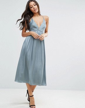 photo Midi Dress With Delicate Strap Back by ASOS, color Blue - Image 2
