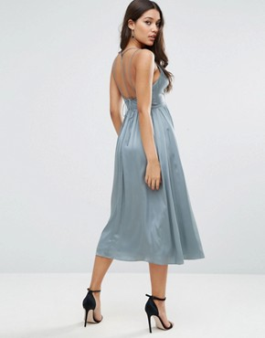 photo Midi Dress With Delicate Strap Back by ASOS, color Blue - Image 1