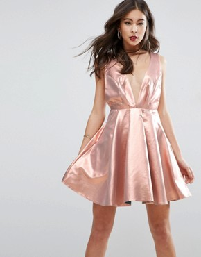 photo Metallic Deep Plunge Mini Skater Dress by ASOS, color Gold - Image 1