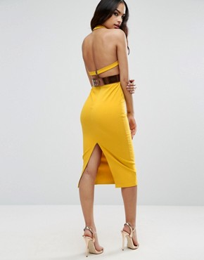photo Halter Plunge Midi Dress with Metallic Belt by ASOS, color Yellow - Image 2