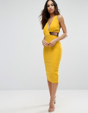 photo Halter Plunge Midi Dress with Metallic Belt by ASOS, color Yellow - Image 1