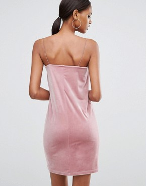 photo Square Neck Velvet Mini Dress by ASOS TALL, color Dusky Pink - Image 2
