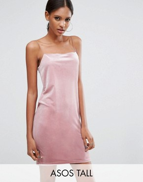 photo Square Neck Velvet Mini Dress by ASOS TALL, color Dusky Pink - Image 1
