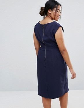 photo Sleeveless Tie Waist Swing Dress by Closet London Plus, color Navy - Image 2