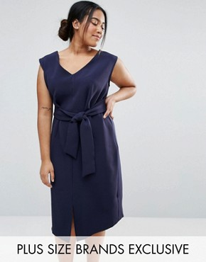 photo Sleeveless Tie Waist Swing Dress by Closet London Plus, color Navy - Image 1